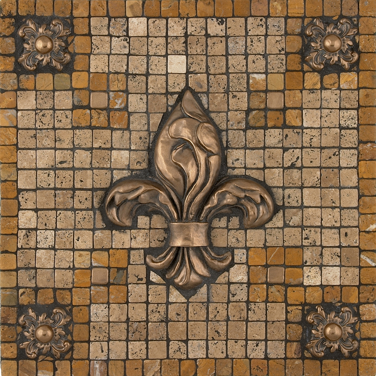 Metal mural bevano fleur mosaic tile backsplash for Custom mosaic tile mural