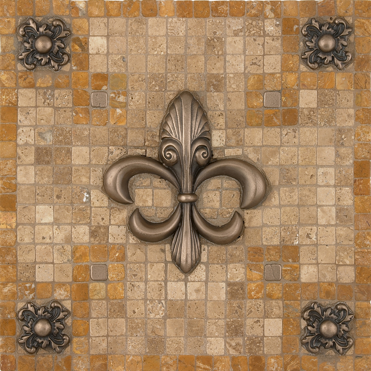 contempo fleur mosaic tile backsplash medallion 12 x12 mesh mounted